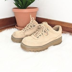 Early 2000s Beige Suede Leather Chunky Sneakers